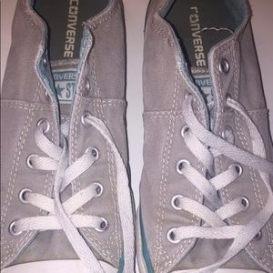 Grey and teal converse